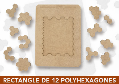 Rectangle de 12 polyhexagones